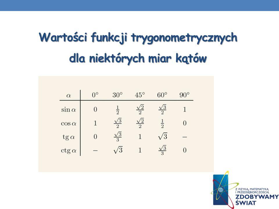 Wartości funkcji trygonometrycznych dla niektórych miar kątów