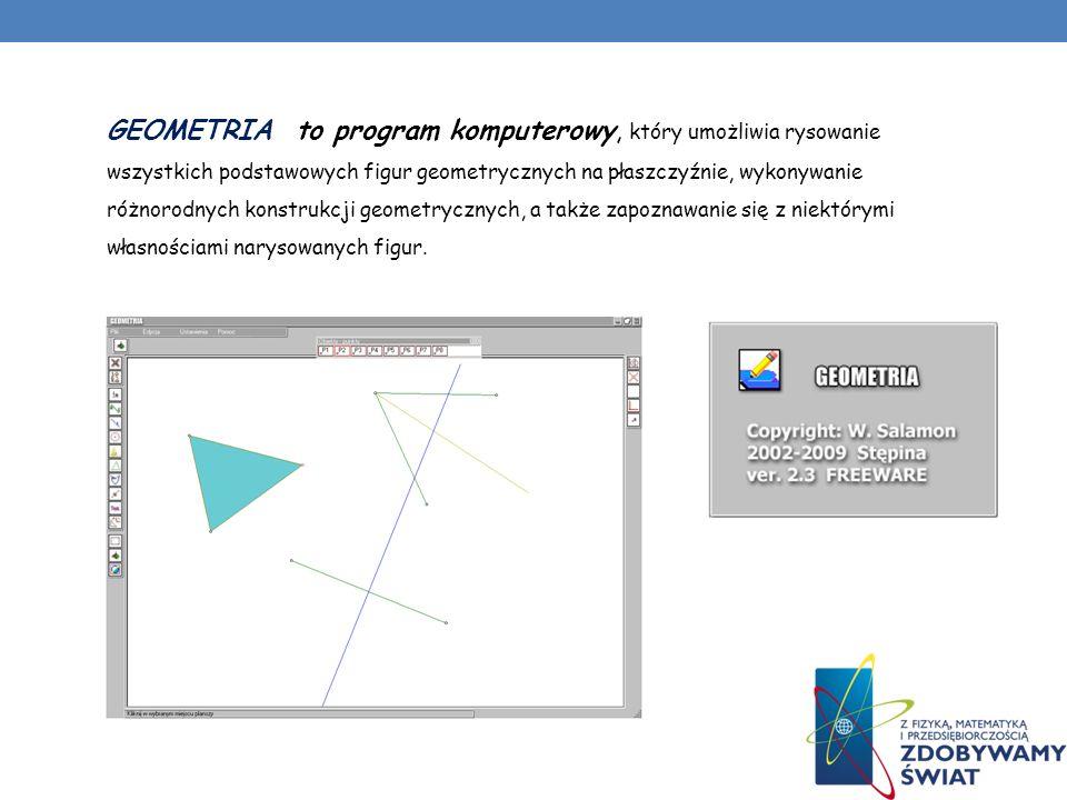 GEOMETRIA to program komputerowy, który umożliwia rysowanie wszystkich podstawowych figur geometrycznych na płaszczyźnie, wykonywanie różnorodnych konstrukcji geometrycznych, a także zapoznawanie się z niektórymi własnościami narysowanych figur.