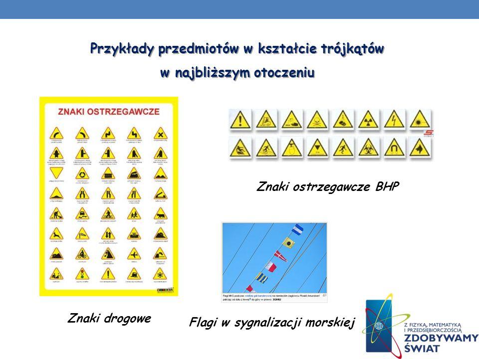 Przykłady przedmiotów w kształcie trójkątów w najbliższym otoczeniu