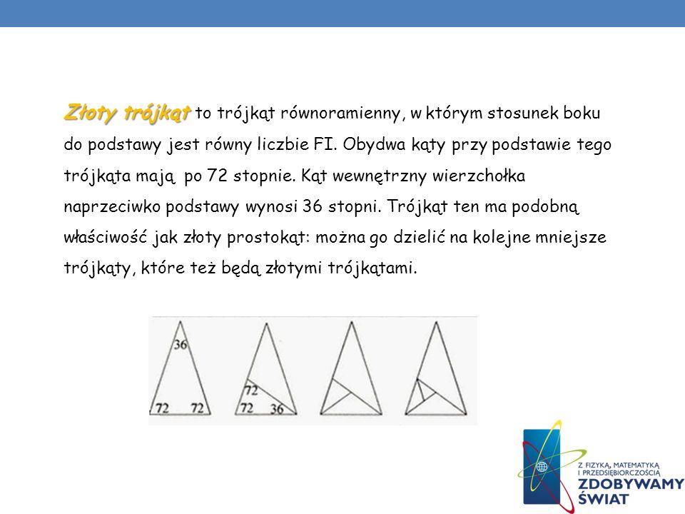 Złoty trójkąt to trójkąt równoramienny, w którym stosunek boku do podstawy jest równy liczbie FI.