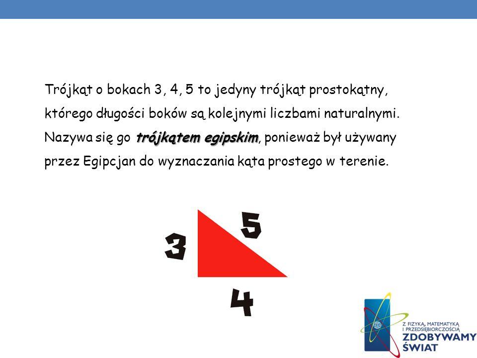 Trójkąt o bokach 3, 4, 5 to jedyny trójkąt prostokątny, którego długości boków są kolejnymi liczbami naturalnymi.