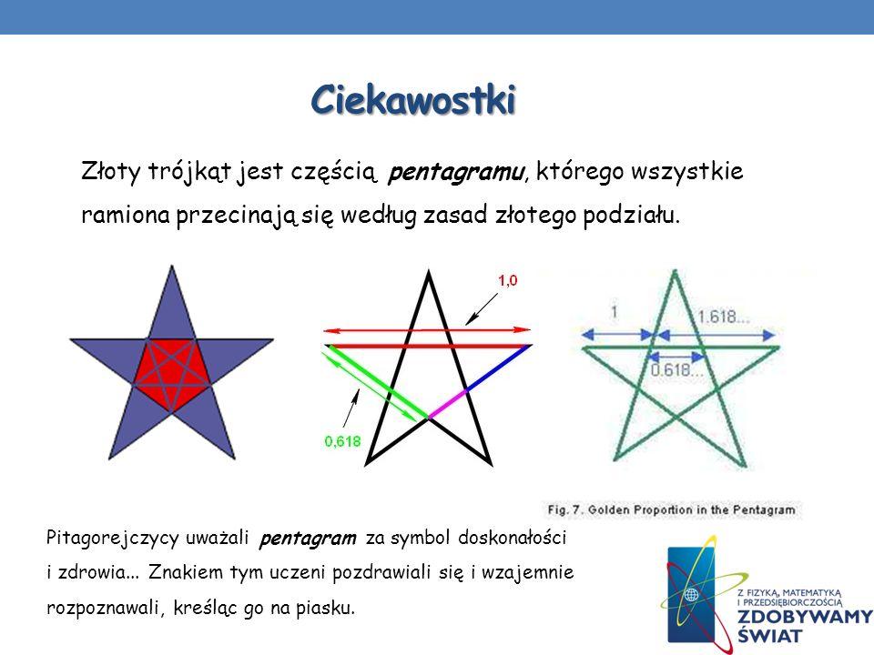 CiekawostkiZłoty trójkąt jest częścią pentagramu, którego wszystkie ramiona przecinają się według zasad złotego podziału.