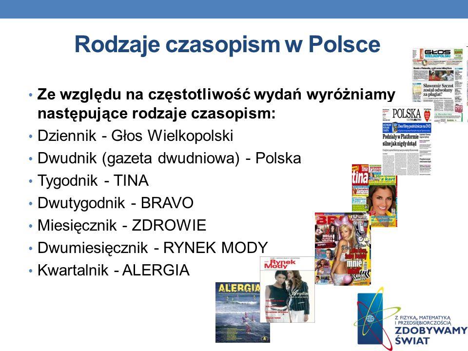 Rodzaje czasopism w Polsce