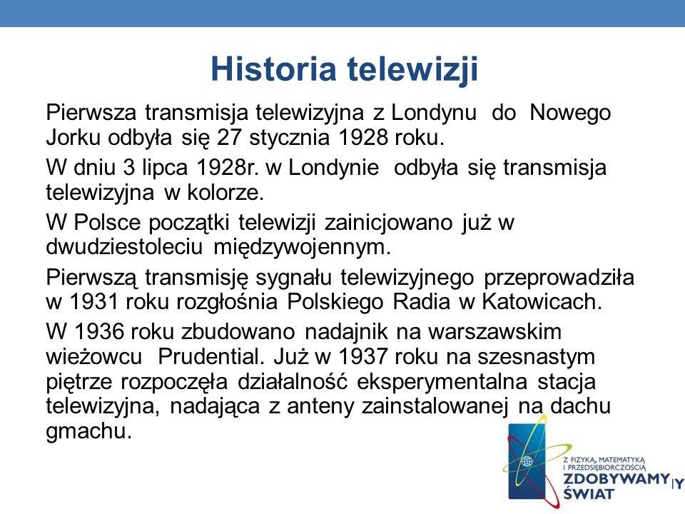 Historia telewizji Pierwsza transmisja telewizyjna z Londynu do Nowego Jorku odbyła się 27 stycznia 1928 roku.