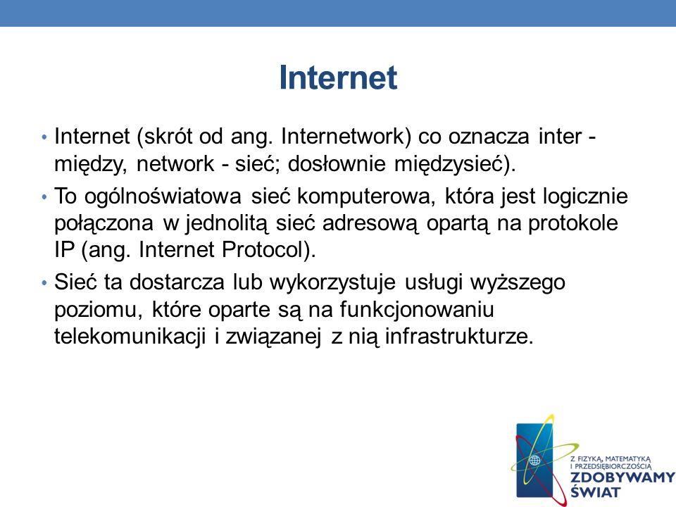Internet Internet (skrót od ang. Internetwork) co oznacza inter - między, network - sieć; dosłownie międzysieć).