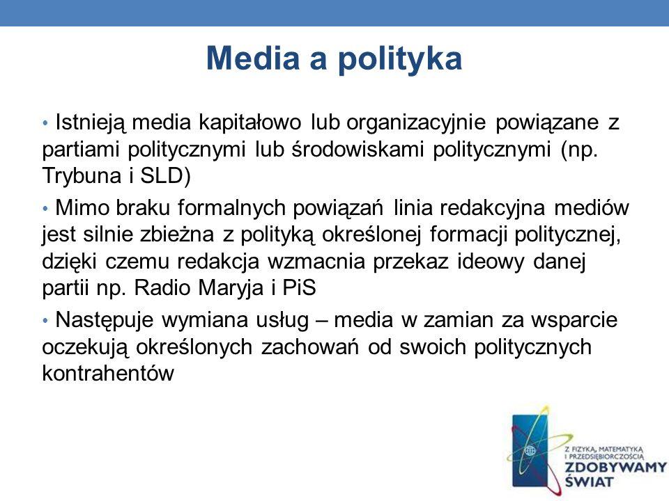 Media a polityka Istnieją media kapitałowo lub organizacyjnie powiązane z partiami politycznymi lub środowiskami politycznymi (np. Trybuna i SLD)