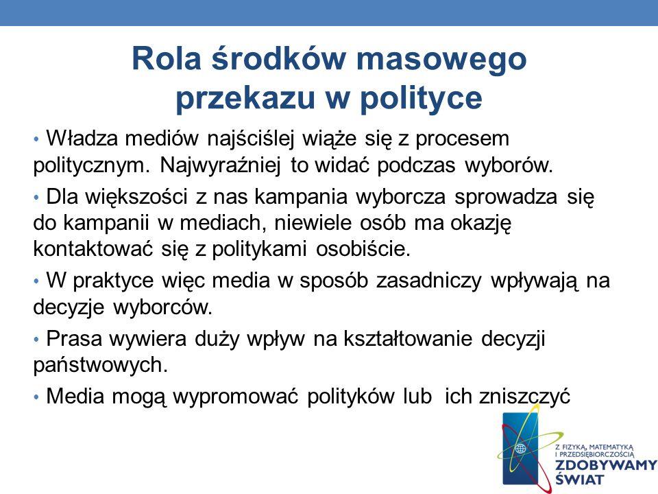 Rola środków masowego przekazu w polityce