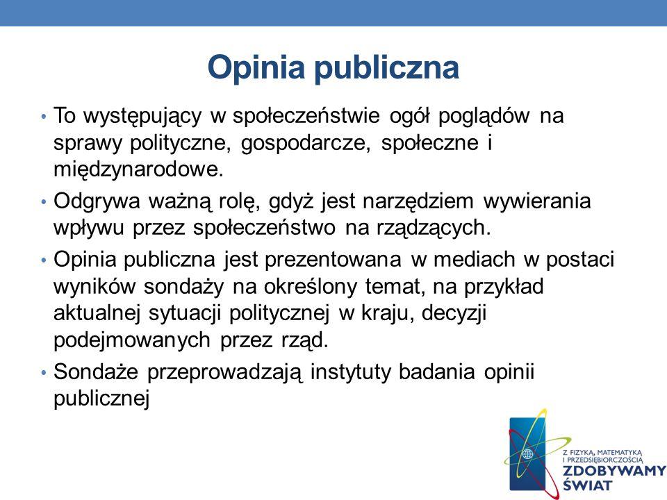 Opinia publiczna To występujący w społeczeństwie ogół poglądów na sprawy polityczne, gospodarcze, społeczne i międzynarodowe.