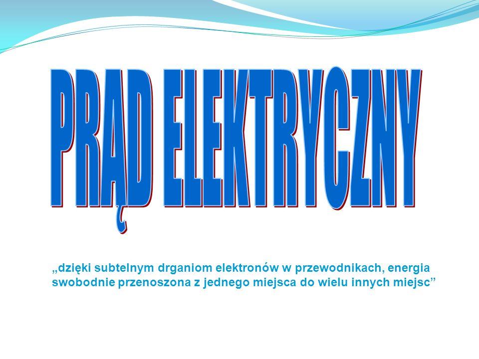 """PRĄD ELEKTRYCZNY""""dzięki subtelnym drganiom elektronów w przewodnikach, energia swobodnie przenoszona z jednego miejsca do wielu innych miejsc"""