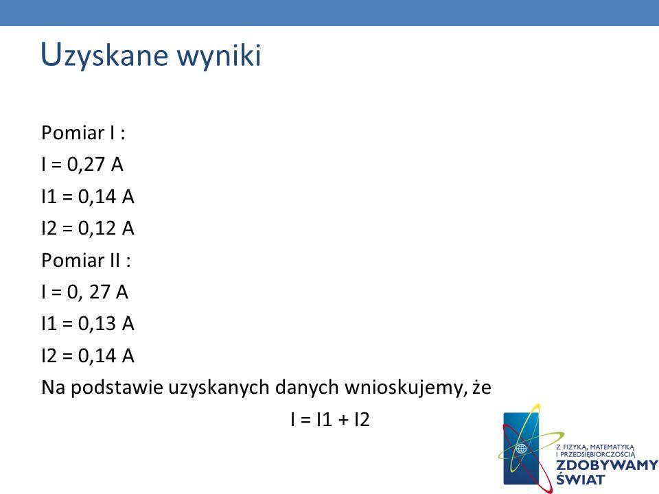 Uzyskane wyniki Pomiar I : I = 0,27 A I1 = 0,14 A I2 = 0,12 A