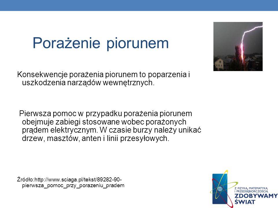 Porażenie piorunem Konsekwencje porażenia piorunem to poparzenia i uszkodzenia narządów wewnętrznych.