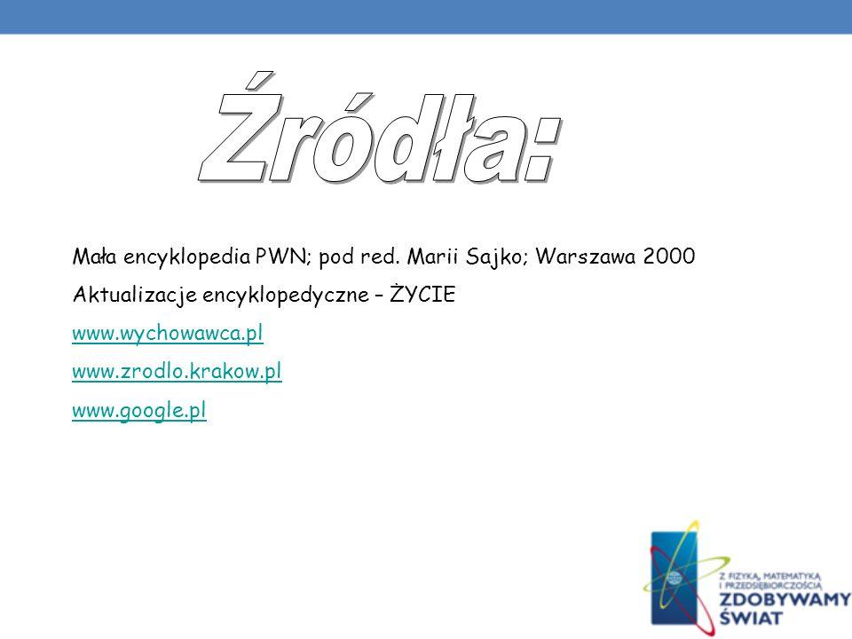 Źródła: Mała encyklopedia PWN; pod red. Marii Sajko; Warszawa 2000