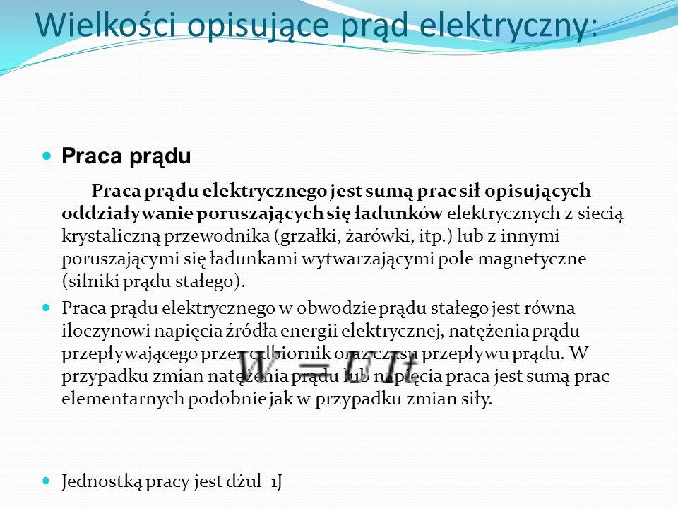 Wielkości opisujące prąd elektryczny: