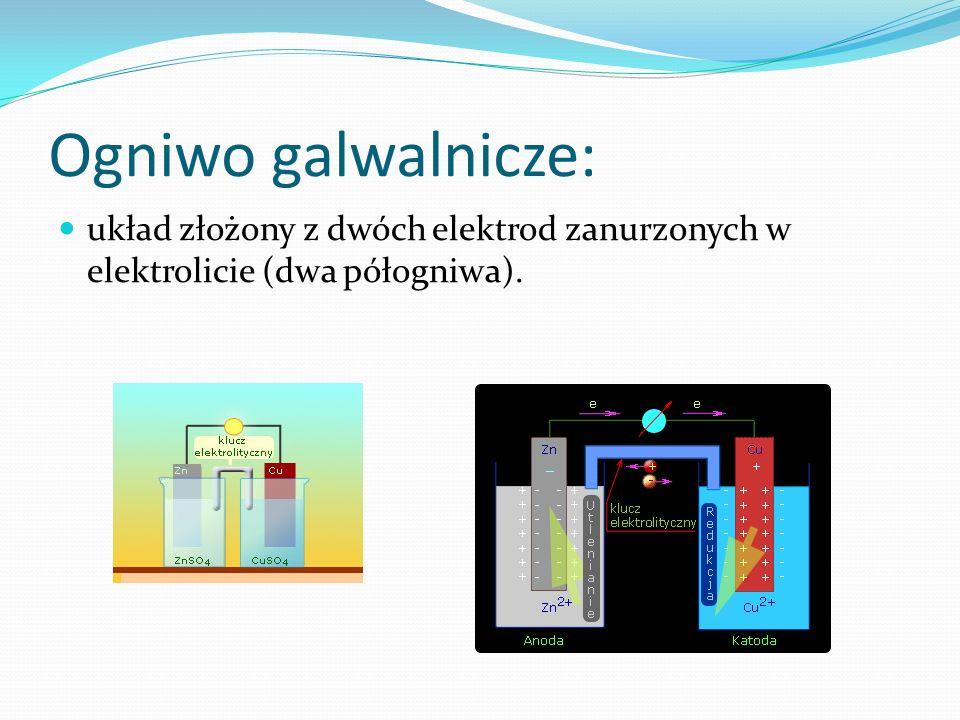 Ogniwo galwalnicze: układ złożony z dwóch elektrod zanurzonych w elektrolicie (dwa półogniwa).