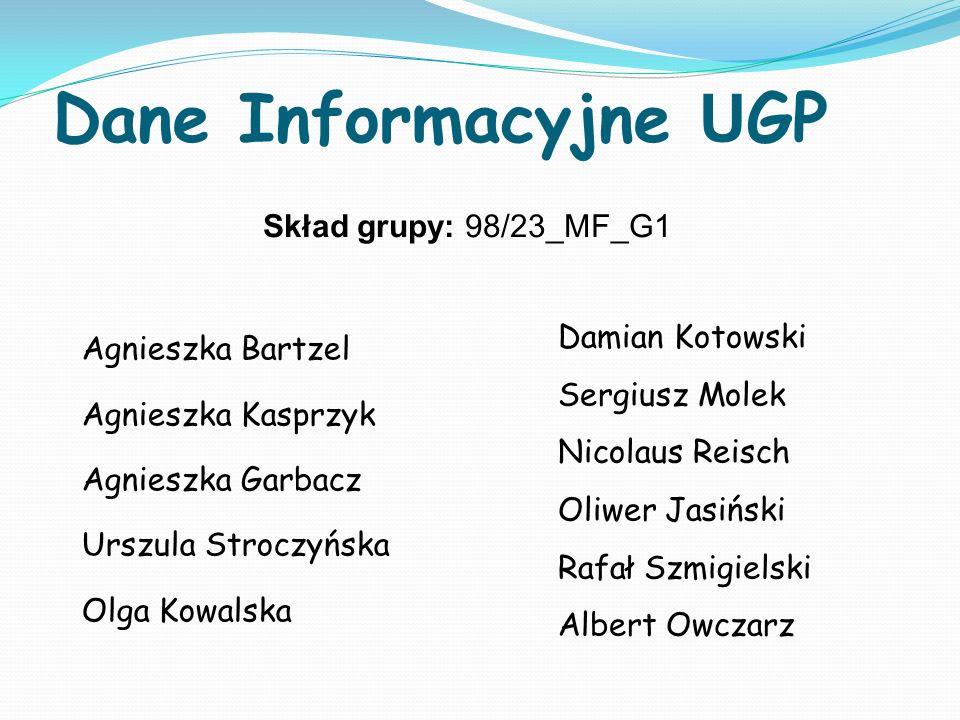 Dane Informacyjne UGP Skład grupy: 98/23_MF_G1 Agnieszka Bartzel