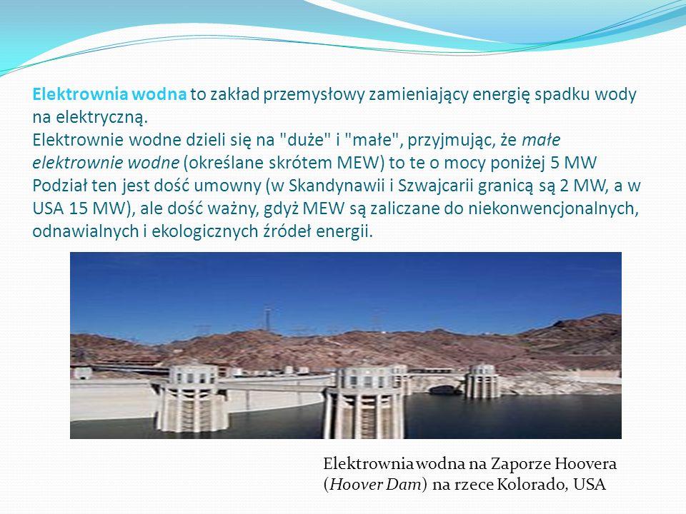 Elektrownia wodna to zakład przemysłowy zamieniający energię spadku wody na elektryczną. Elektrownie wodne dzieli się na duże i małe , przyjmując, że małe elektrownie wodne (określane skrótem MEW) to te o mocy poniżej 5 MW Podział ten jest dość umowny (w Skandynawii i Szwajcarii granicą są 2 MW, a w USA 15 MW), ale dość ważny, gdyż MEW są zaliczane do niekonwencjonalnych, odnawialnych i ekologicznych źródeł energii.