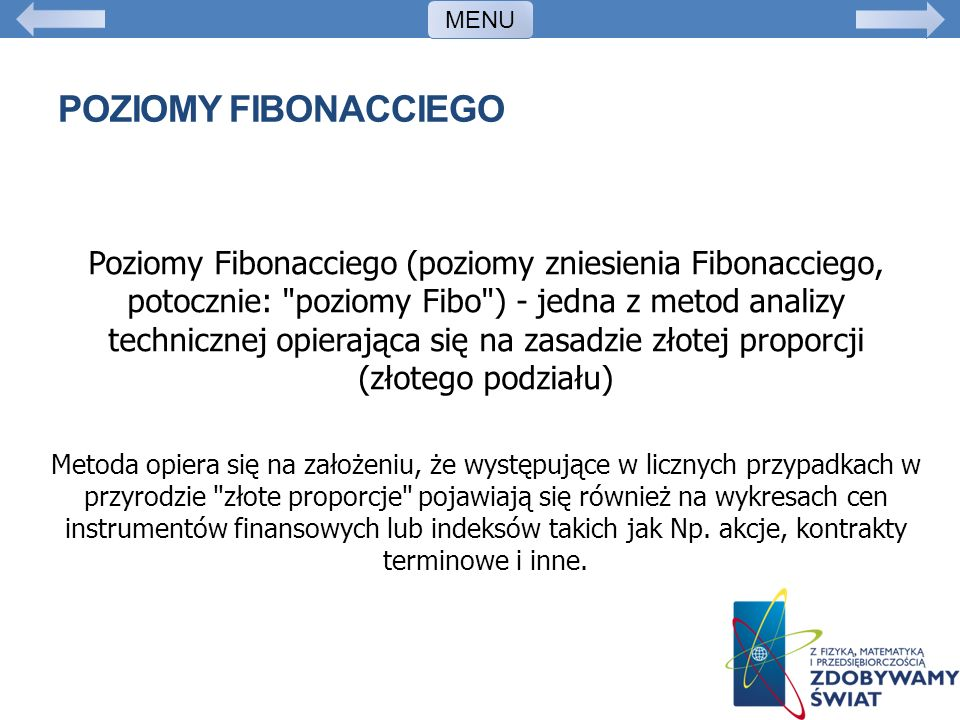 MENU Poziomy fibonacciego.