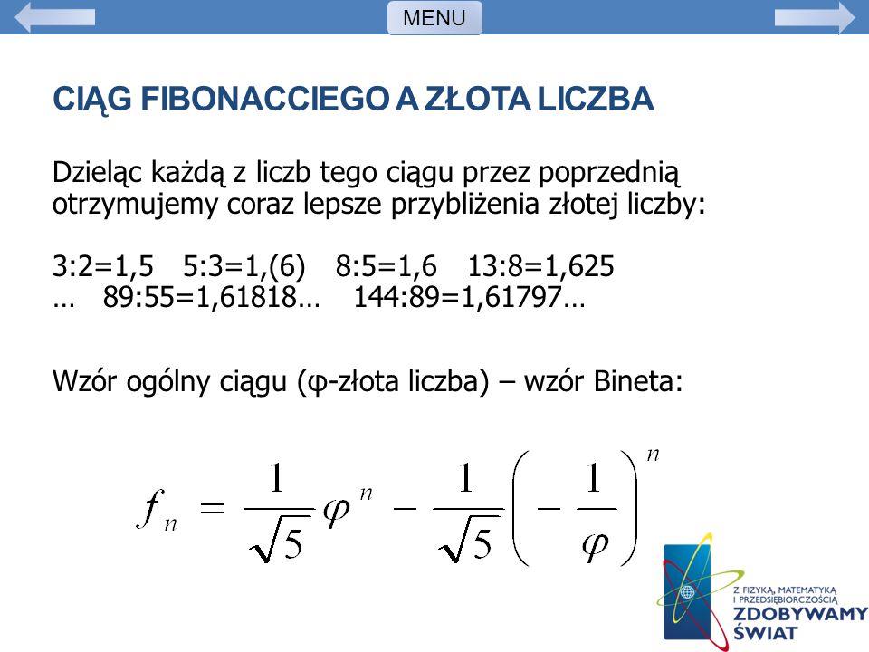 Ciąg Fibonacciego a złota liczba