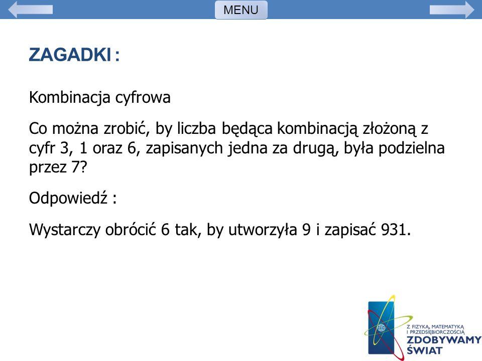 MENU Zagadki :