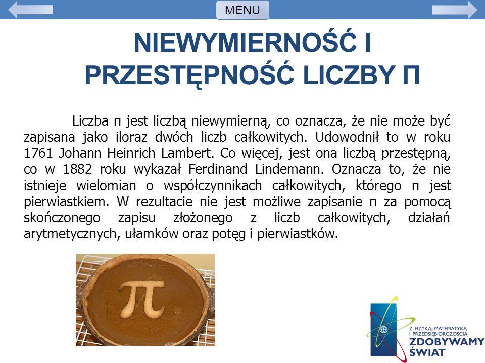 Niewymierność i przestępność liczby π