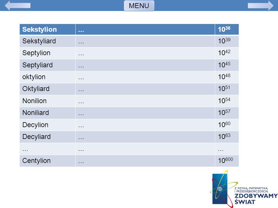 MENU Sekstylion. ... 1036. Sekstyliard. 1039. Septylion. 1042. Septyliard. 1045. oktylion.