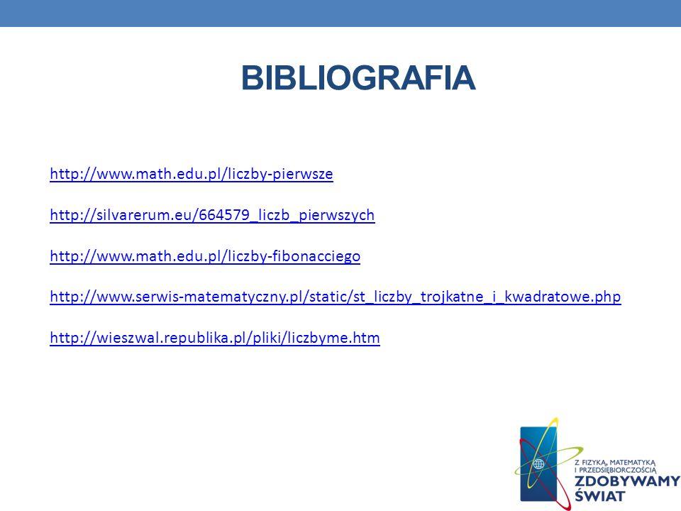 Bibliografia http://www.math.edu.pl/liczby-pierwsze