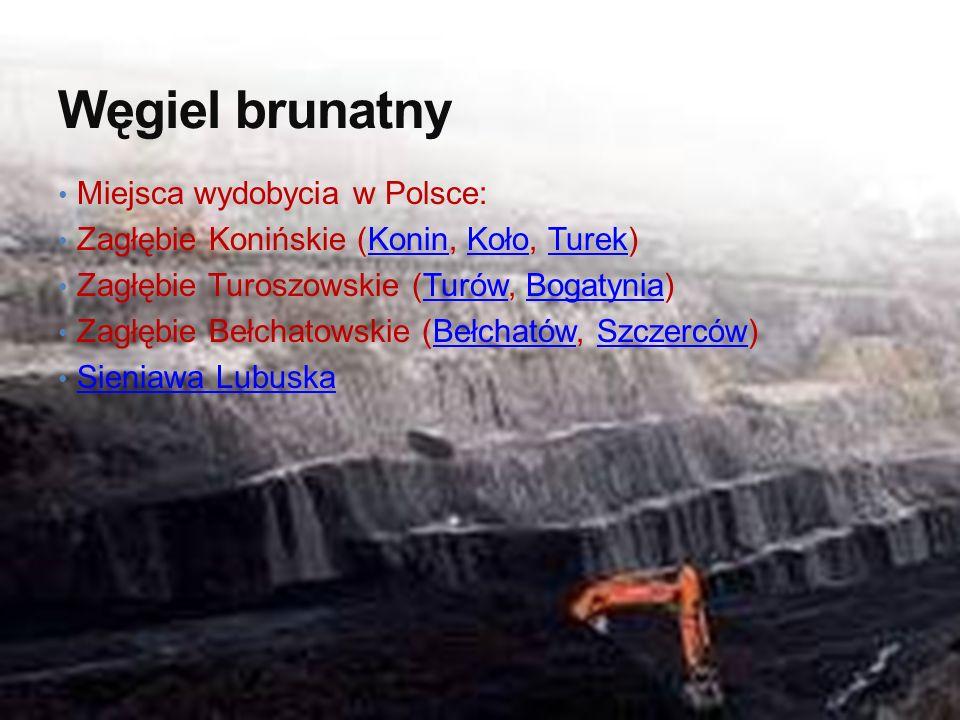 Węgiel brunatny Miejsca wydobycia w Polsce: