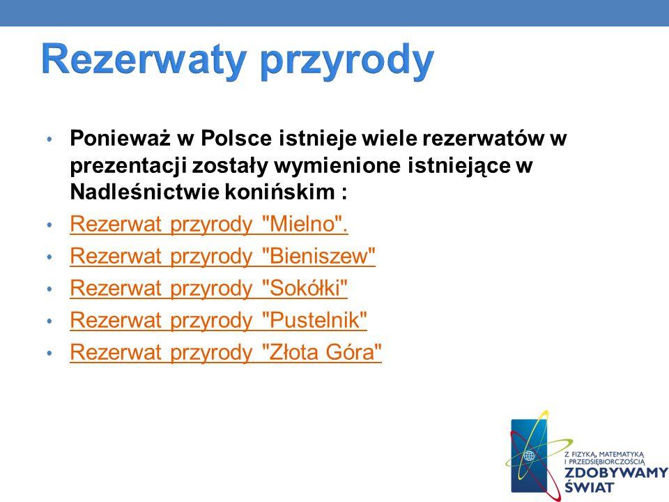 Rezerwaty przyrody Ponieważ w Polsce istnieje wiele rezerwatów w prezentacji zostały wymienione istniejące w Nadleśnictwie konińskim :