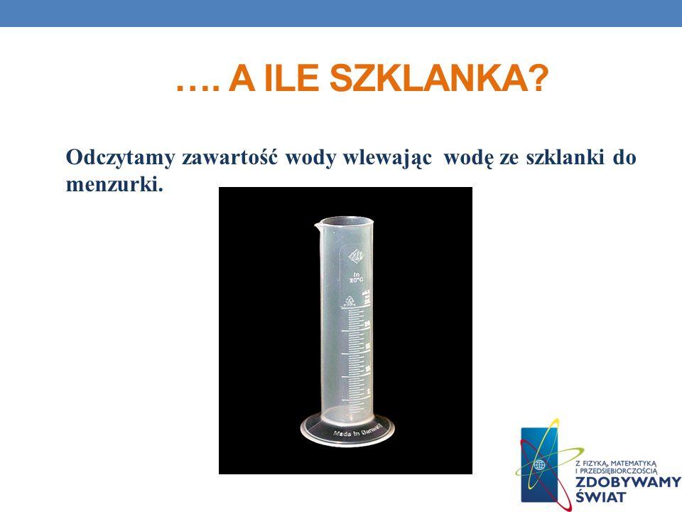 …. A ile szklankA Odczytamy zawartość wody wlewając wodę ze szklanki do menzurki.