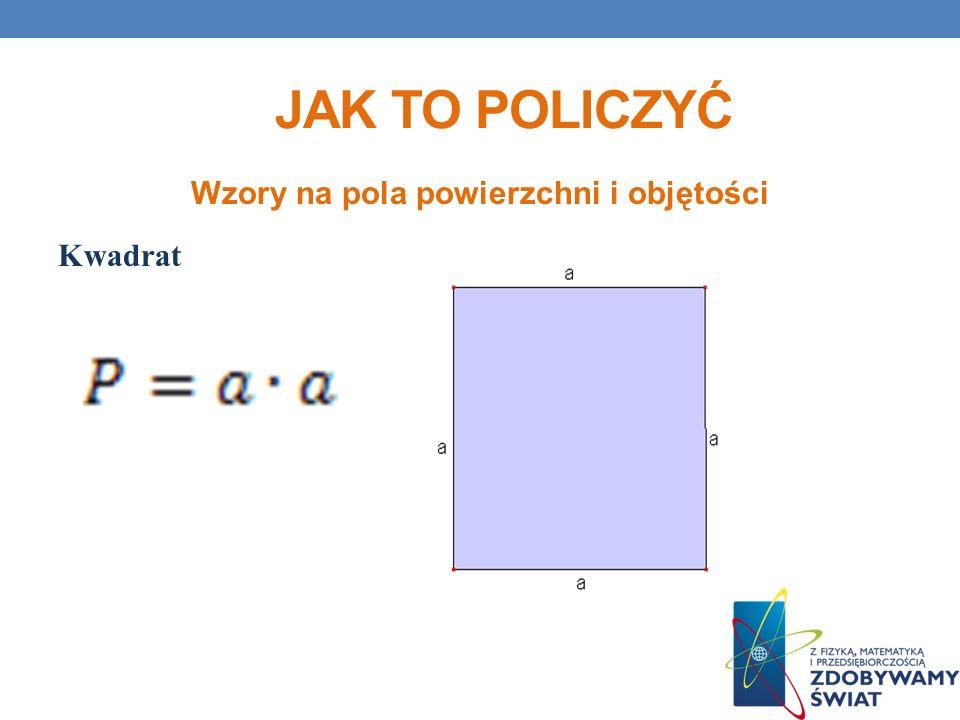 Wzory na pola powierzchni i objętości Kwadrat