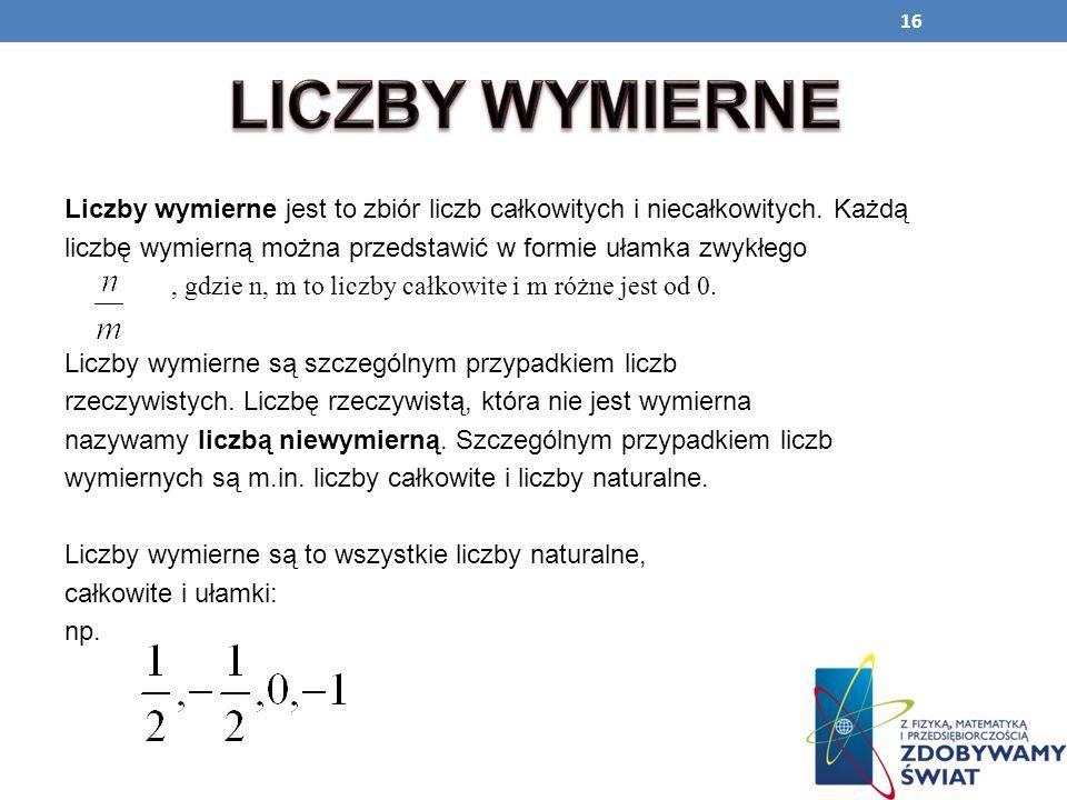 LICZBY WYMIERNELiczby wymierne jest to zbiór liczb całkowitych i niecałkowitych. Każdą. liczbę wymierną można przedstawić w formie ułamka zwykłego.