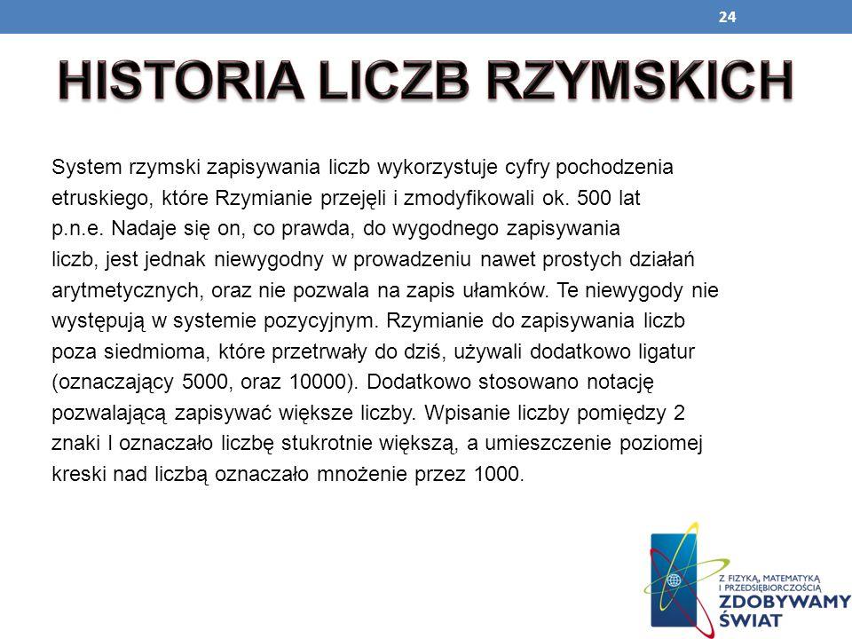HISTORIA LICZB RZYMSKICH