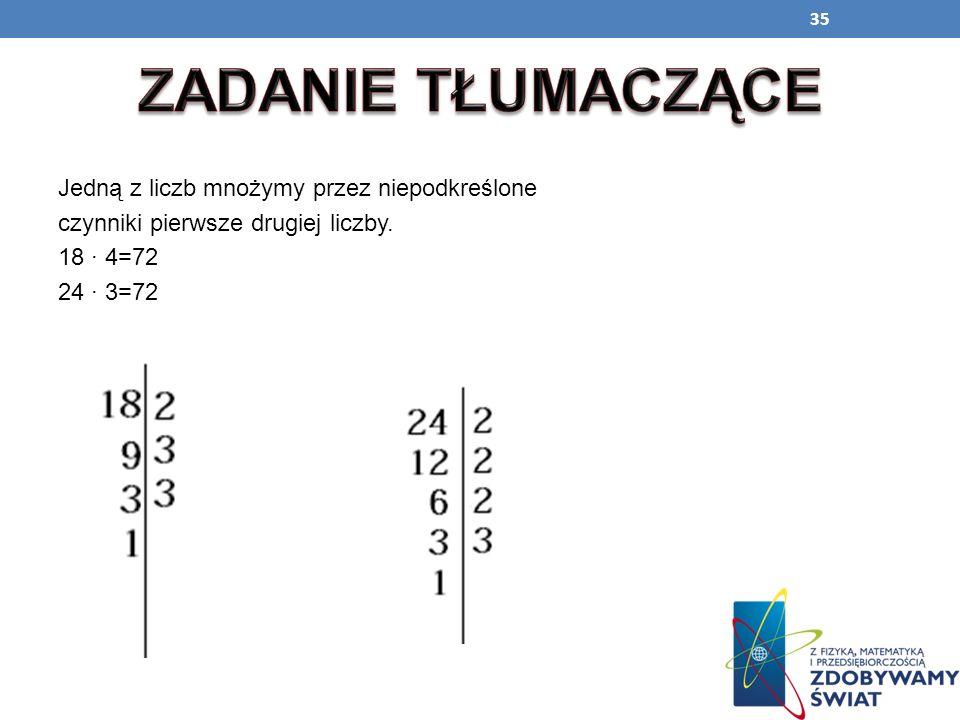 ZADANIE TŁUMACZĄCEJedną z liczb mnożymy przez niepodkreślone czynniki pierwsze drugiej liczby.