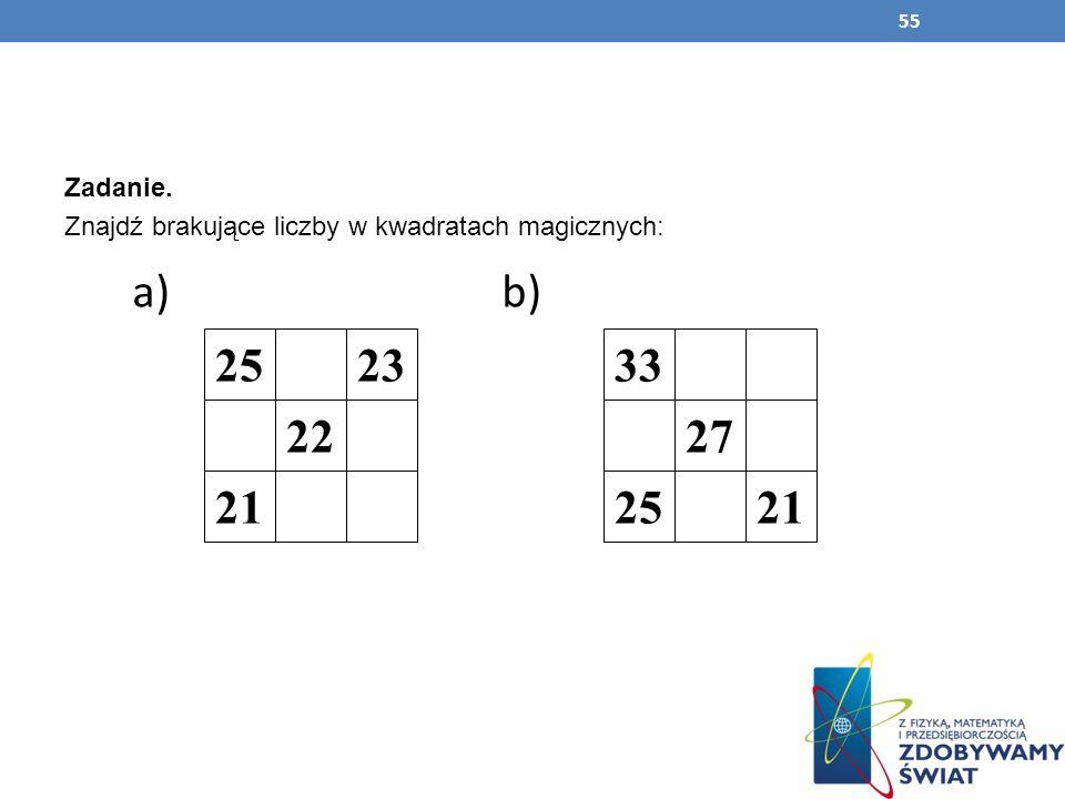Zadanie. Znajdź brakujące liczby w kwadratach magicznych: