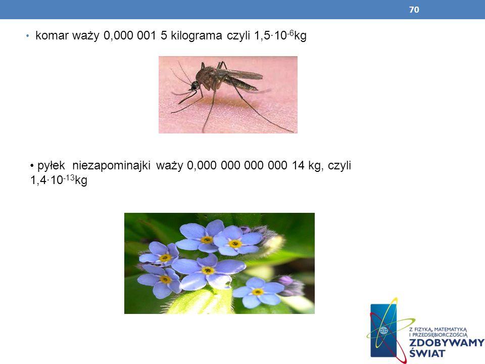 komar waży 0,000 001 5 kilograma czyli 1,5∙10-6kg