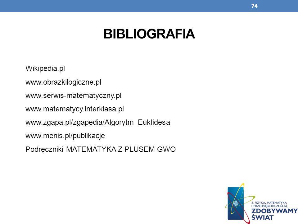 BIBLIOGRAFIA Wikipedia.pl www.obrazkilogiczne.pl