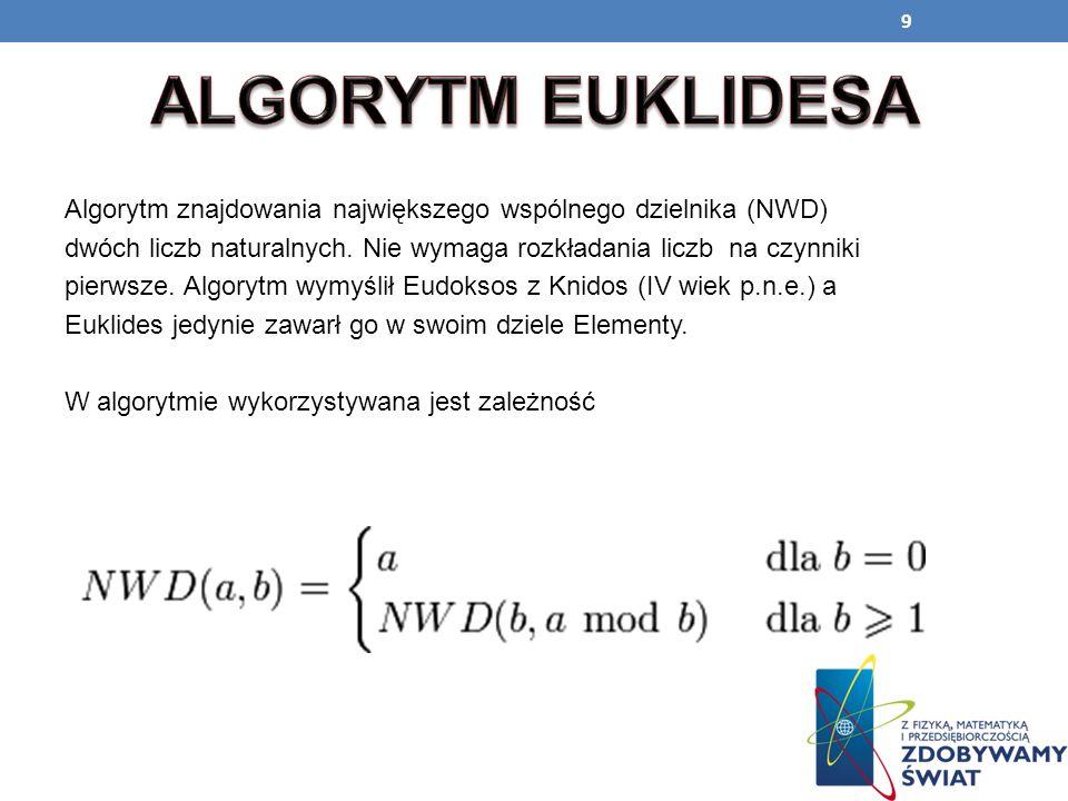 ALGORYTM EUKLIDESA Algorytm znajdowania największego wspólnego dzielnika (NWD) dwóch liczb naturalnych. Nie wymaga rozkładania liczb na czynniki.