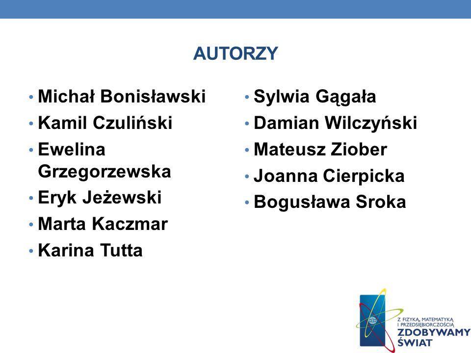 AUTORZYMichał Bonisławski. Kamil Czuliński. Ewelina Grzegorzewska. Eryk Jeżewski. Marta Kaczmar. Karina Tutta.