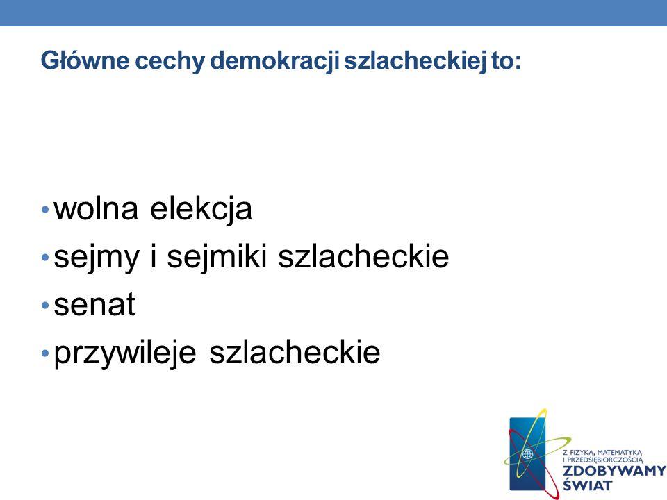 Główne cechy demokracji szlacheckiej to: