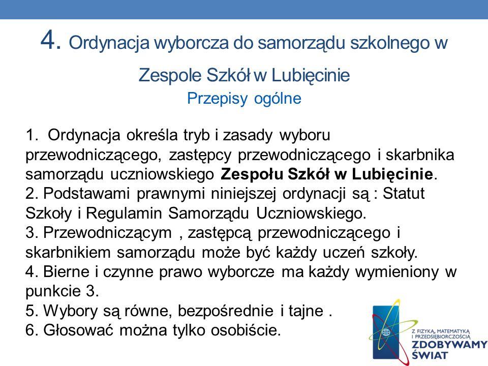 4. Ordynacja wyborcza do samorządu szkolnego w Zespole Szkół w Lubięcinie