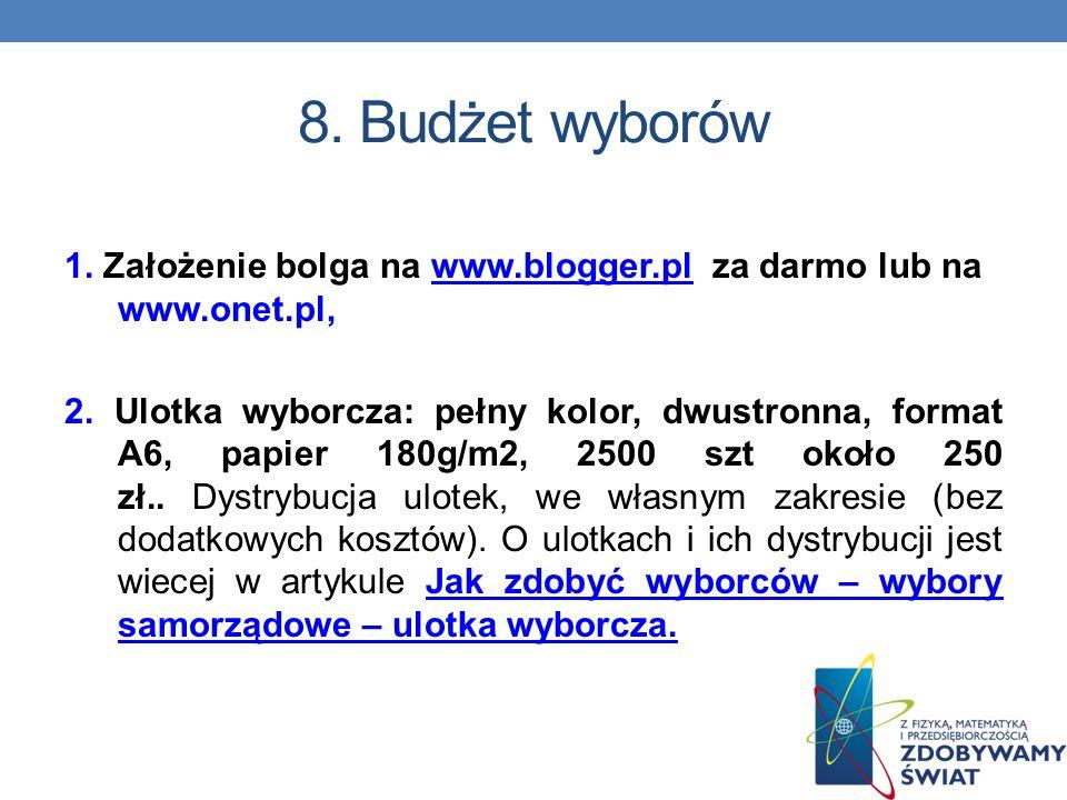8. Budżet wyborów 1. Założenie bolga na www.blogger.pl za darmo lub na www.onet.pl,