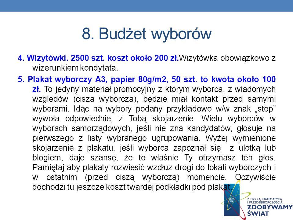 8. Budżet wyborów 4. Wizytówki. 2500 szt. koszt około 200 zł.Wizytówka obowiązkowo z wizerunkiem kondytata.
