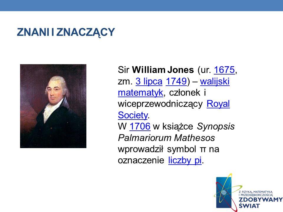 Znani i znaczący Sir William Jones (ur. 1675, zm. 3 lipca 1749) – walijski matematyk, członek i wiceprzewodniczący Royal Society.