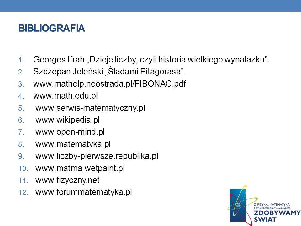 """BIBLIOGRAFIA Georges Ifrah """"Dzieje liczby, czyli historia wielkiego wynalazku . Szczepan Jeleński """"Śladami Pitagorasa ."""