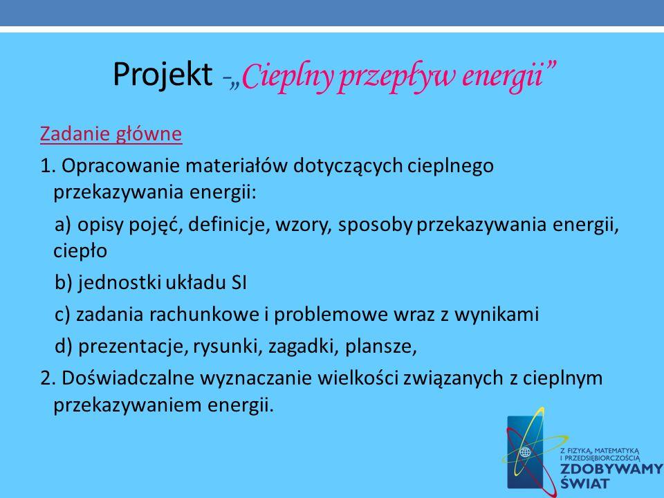 """Projekt -""""Cieplny przepływ energii"""