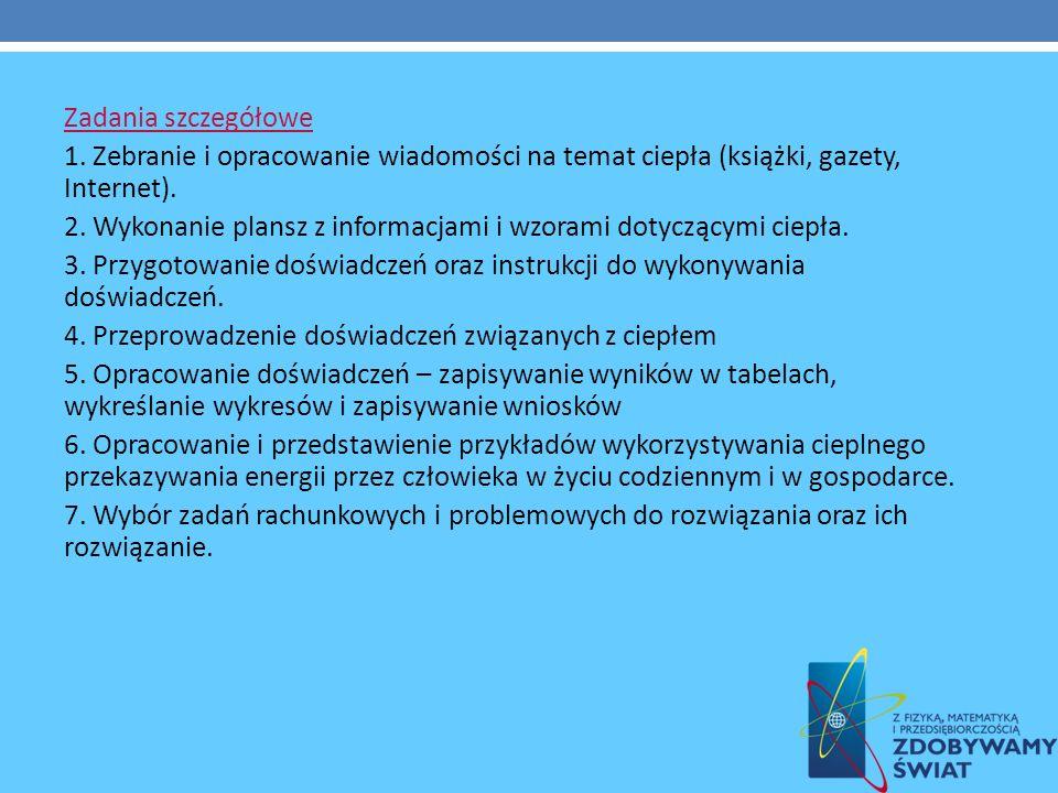 Zadania szczegółowe 1. Zebranie i opracowanie wiadomości na temat ciepła (książki, gazety, Internet).