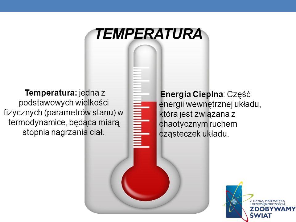Temperatura Temperatura: jedna z podstawowych wielkości fizycznych (parametrów stanu) w termodynamice, będąca miarą stopnia nagrzania ciał.