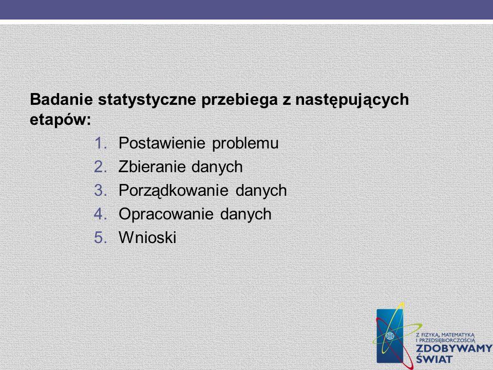 Badanie statystyczne przebiega z następujących etapów: