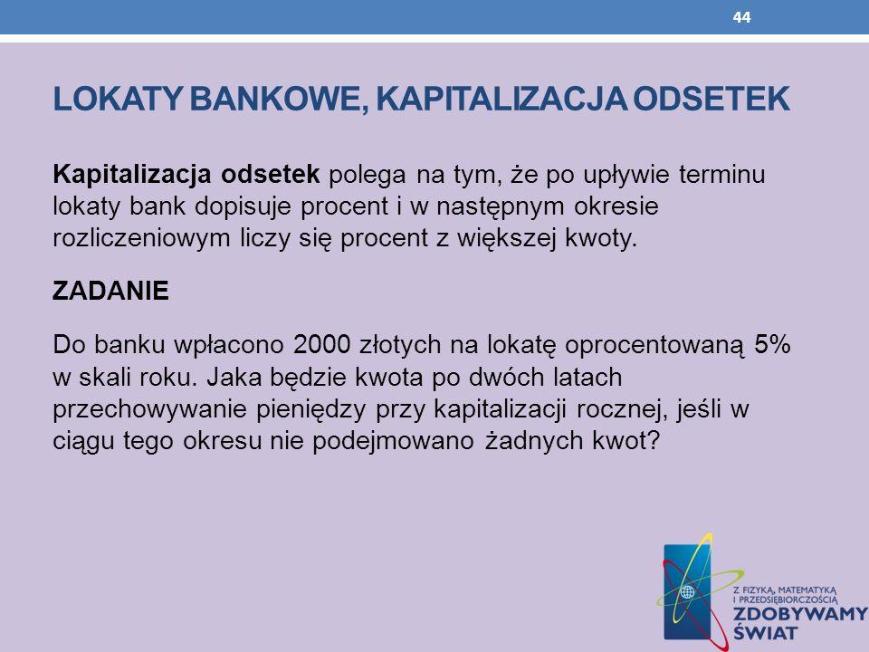 LOKATY BANKOWE, KAPITALIZACJA ODSETEK