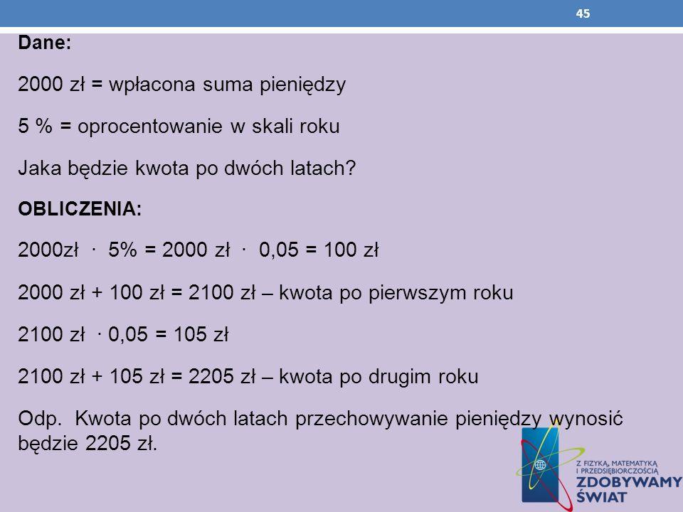 2000 zł = wpłacona suma pieniędzy 5 % = oprocentowanie w skali roku